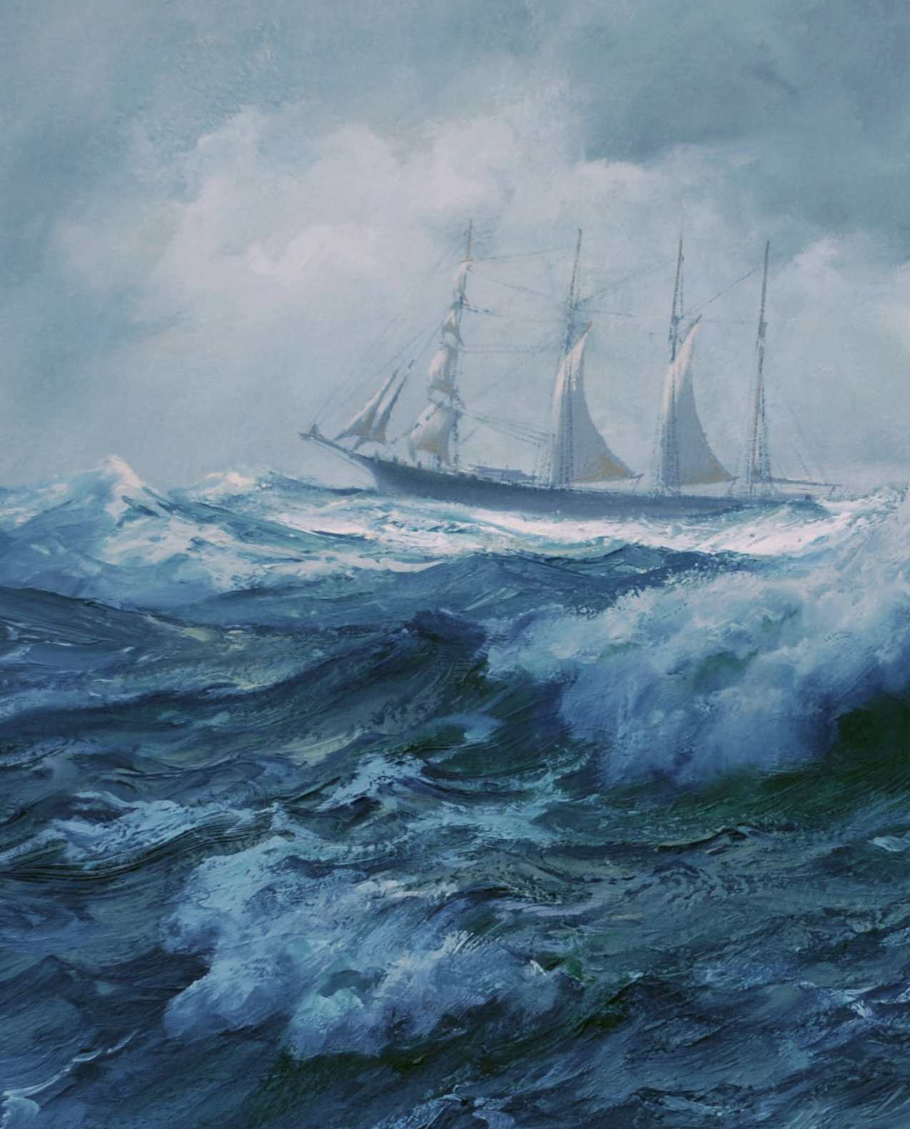 Barquentine beyond the crest painting detail