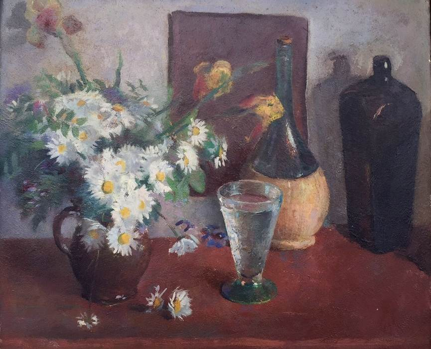 Henry Hensche Still life with daisies painting detail